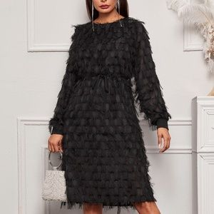 Black Fringe Overlay Dress
